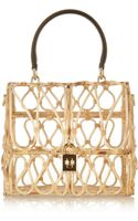 Dolce & Gabbana Leathertrimmed Rattan Shoulder Bag - Lyst