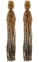 Oscar de la Renta Long Ombrebeaded Tassel Earrings - Lyst