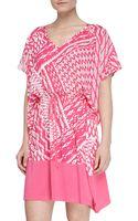Josie Ikatprint Challis Rayon Tunic Cosmo Pinkwhite - Lyst