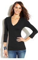 Inc International Concepts Three-quarter-sleeve V-neck Top - Lyst