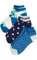 Kate Spade Ped Socks Pack Of 3 - Lyst