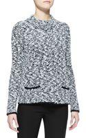 Armani Snapfront Boucle Knit Jacket - Lyst