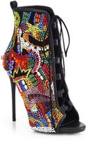 Giuseppe Zanotti Crystal-covered Comic Open-toe Booties - Lyst