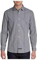 English Laundry Striped Gingham Cotton Sport Shirt - Lyst