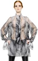 Alexander McQueen Fox Fur Printed Silk Chiffon Shirt - Lyst