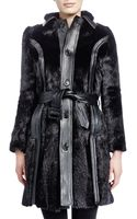 Saint Laurent Midlength Marmot Fur Coat Noir - Lyst