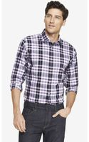 Express Non-iron Fitted Plaid Shirt - Lyst
