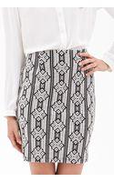 Forever 21 Textured Diamond Print Pencil Skirt - Lyst