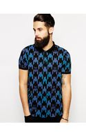 Asos Polo Shirt with Exploded Dogstooth Print - Lyst