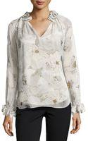 Diane von Furstenberg Long-sleeve Floral Blouse - Lyst