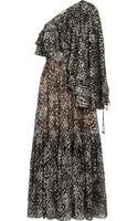 Michael Kors Metallic Silk Blend Chiffon Fil Coupé Gown - Lyst