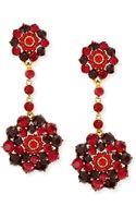 Oscar de la Renta Crimson Crystal Drop Clipon Earrings - Lyst