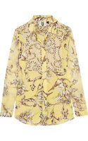 Topshop Unique Printed Silkgeorgette Shirt - Lyst