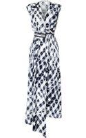 Kenzo Silk Jacquard Satin Blur Print Dress - Lyst
