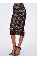 Missguided Ali Scallop Lace Midi Skirt Black - Lyst