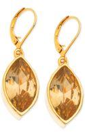 T Tahari Goldtone Crystal Navette Euro Leverback Drop Earrings - Lyst