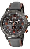 Citizen Mens Chronograph Drive From Ecodrive Gray Leather Strap 46mm 08h - Lyst