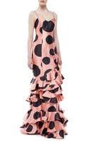 Carolina Herrera Ruffled Polk Dot Silk Gown - Lyst
