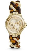 Michael Kors Mini Camille Pavéembellished Tortoise Acetate Watch - Lyst