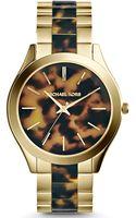 Michael Kors Ladies Goldtone Tortoise Runway Threehand Watch - Lyst