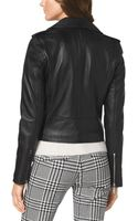 Michael Kors Michael Cropped Belted Moto Jacket - Lyst