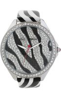 Betsey Johnson Womens Black and White Zebra Stripe Leather Strap Watch 48mm 09 - Lyst
