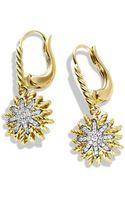 David Yurman Starburst Drop Earrings with Diamonds in Gold - Lyst