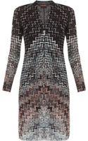 Missoni Long Sleeve V-Neck Short Dress - Lyst