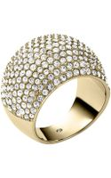 Michael Kors Goldtone Crystal Pavã Dome Ring - Lyst