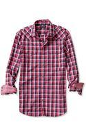 Banana Republic Slim Fit Plaid Western Shirt Royal Red - Lyst