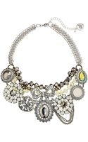 Betsey Johnson Whiteout Cs Crystal Mix Bow Flower Frontal Necklace - Lyst