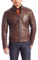 Boss Orange Jips  Stand Collar Leather Jacket - Lyst