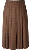Givenchy Vintage Patterned Pleated Midi Skirt - Lyst