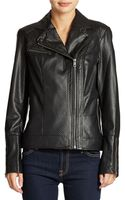DKNY Perforated Faux Leather Moto Jacket - Lyst