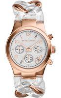Michael Kors Mini Rose Goldenclear Stainless Steel Runway Twist Watch - Lyst
