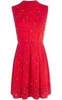 Oasis Art Spot Viscose Dress - Lyst