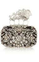 Alexander McQueen Knuckle Swarovski Pearl and Crystalembellished Silk Box Clutch - Lyst