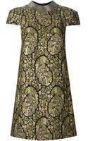 Saint Laurent Floral Embroidered Shift Dress - Lyst