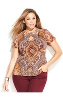 Inc International Concepts Plus Size Shortsleeve Printed Cutout Top - Lyst