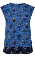 Oasis Felted Floral Pleat Back Tee - Lyst