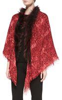 Sofia Cashmere Snake-print Shawl with Fox Fur Trim - Lyst