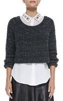 Milly Cropped Ribbed Knit Sweater - Lyst