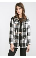Forever 21 Check Plaid Toggle Coat - Lyst