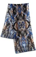 Roberto Cavalli Feather Printed Oversized Silk Scarf - Lyst