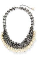 Rebecca Minkoff Pearl Mesh Statement Necklace - Lyst