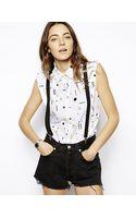 A Question Of Smileys Print Sleeveless Shirt - Lyst