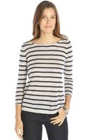 Autumn Cashmere Grey and Navy Cashmere Sailor Striped Long Sleeve Sweater - Lyst