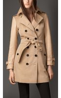Burberry Midlength Gabardine Trench Coat with Python Sleeves - Lyst