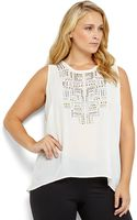 Philosophy Plus Size Embellished Hi-low Sheer Tank - Lyst
