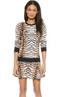 Torn By Ronny Kobo Shauna Tiger Jacquard Sweater Natural - Lyst